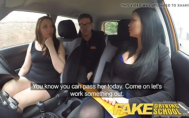 Mischievous nymph pummeled their driving lecturer in the car, instead of by oneself having a class